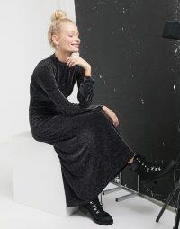 Monki high neck maxi dress in black glitter