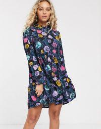 Monki multi rose print mini smock dress in black | floral vintage style prints