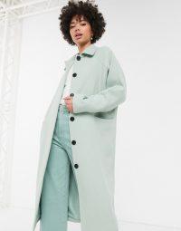 Monki oversized midi tailored coat in sage green | longline coats