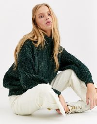 Monki oversized roll neck cable knit jumper in green | drop shoulder sweater