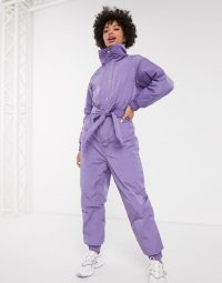 Monki padded overall in purple | cosy funnel neck jumpsuits