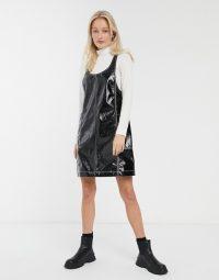 Monki patent sleeveless mini shift dress in black / shiny pinafore