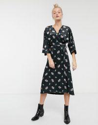 Monki velvet midi floral print wrap dress in black / tie waist dresses