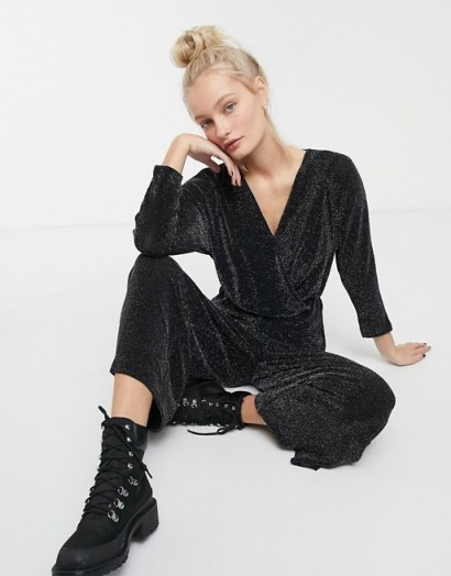 Monki wrap wide leg jumpsuit in black glitter