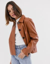Moon River faux leather cropped jacket brick