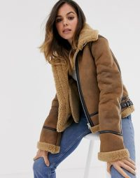 Moon River faux shearling utility bomber jacket un Umber | warm winter jackets