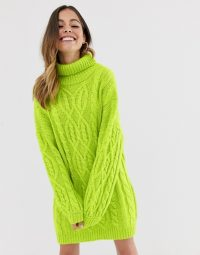 Moon River lime cable knit jumper dress in lime green | bright sweater dresses