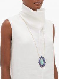 JACQUIE AICHE Mufasa diamond, turquoise & opal pendant necklace ~ large luxe pendants ~ long blue stone necklaces