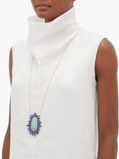 JACQUIE AICHE Mufasa diamond, turquoise & opal pendant necklace ~ large luxe pendants ~ long blue stone necklaces - flipped