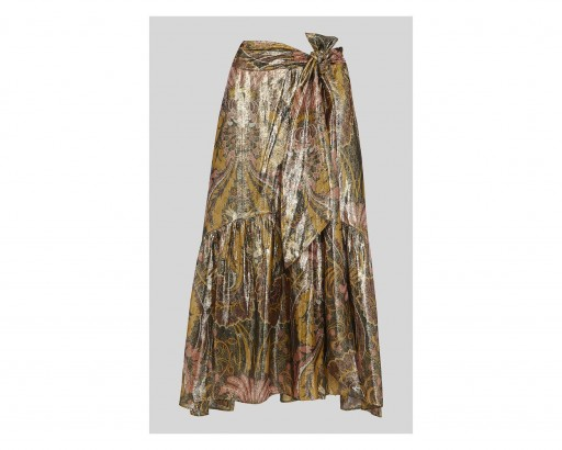 WHISTLES Paisley Metallic Skirt