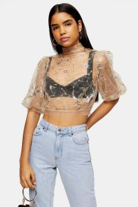Topshop Mystical Embellished Top in nude – high neck, puff sleeved crop tops