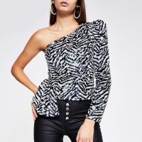 River Island Navy printed sequin one shoulder top | glamorous evening occasion tops