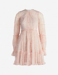NEEDLE AND THREAD Anya ruffled embellished tulle mini dress in French rose ~ feminine event dresses