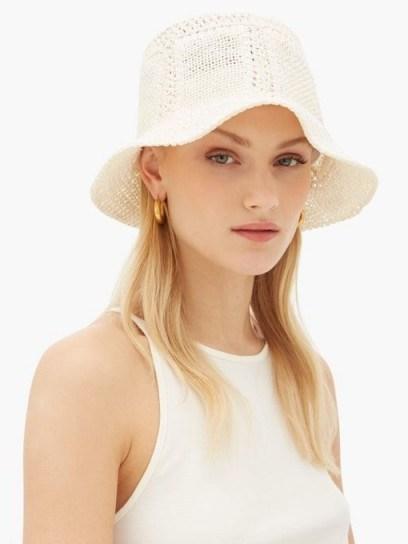 REINHARD PLANK HATS Neko woven paper hat in white / feminine bucket hats - flipped