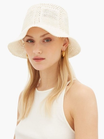 REINHARD PLANK HATS Neko woven paper hat in white / feminine bucket hats