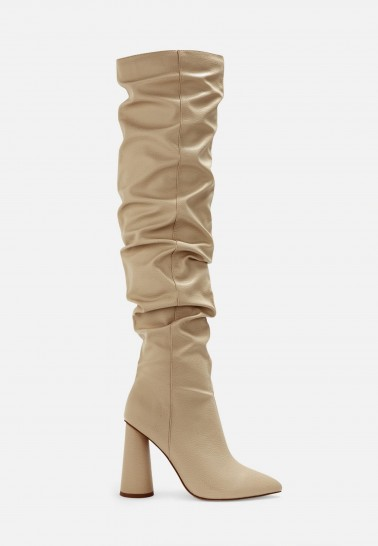 MISSGUIDED nude faux leather block heel over knee boots