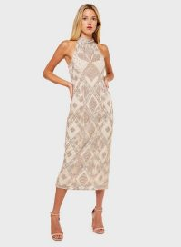 MISS SELFRIDGE Nude High Neck Midi Dress – going out glamour