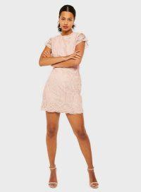 MISS SELFRIDGE Nude Lace Mini Dress – going out dresses