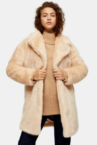 Topshop Nude Luxe Faux Fur Coat | fluffy winter coats