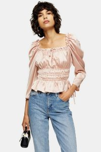 Topshop Nude Satin Ruched Prairie Blouse