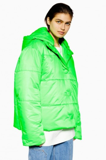 Topshop Boutique Nylon Padded Puffer Jacket in Fluro Green | bright jackets