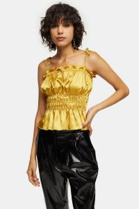 Topshop Ochre Ruched Satin Cami – yellow smocked camisole
