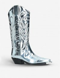 "OFF-WHITE C/O VIRGIL ABLOH ""FOR WALKING"" metallic-leather heeled ankle boots in silver ~ designer western boots"