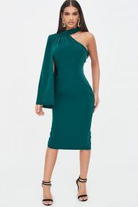LAVISH ALICE one shoulder cape midi dress in emerald green – evening glamour