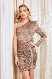 LAVISH ALICE one sleeve sequin mini dress in metallic gold – asymmetric celebration dresses