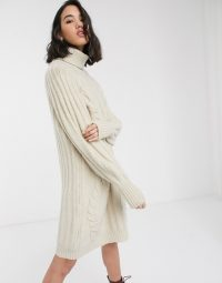 Only jumper dress with roll neck and cable detail in cream | neutral sweater dresses