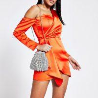 RIVER ISLAND Orange long sleeve wrap front mini dress – 80s style evening glamour