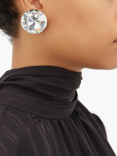 SAINT LAURENT Oversized white crystal clip earrings ~ glamorous evening accessory