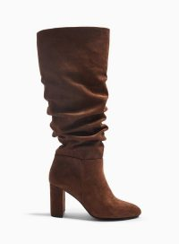 MISS SELFRIDGE OXFORD Brown Ruched Knee High Boots – slouchy winter boot