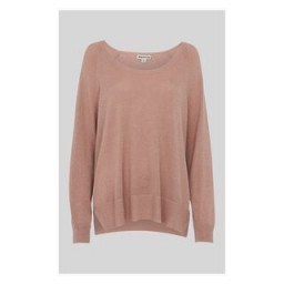 WHISTLES Sparkle Scoop Neck Knit in Pale Pink ~ loose fitting knits