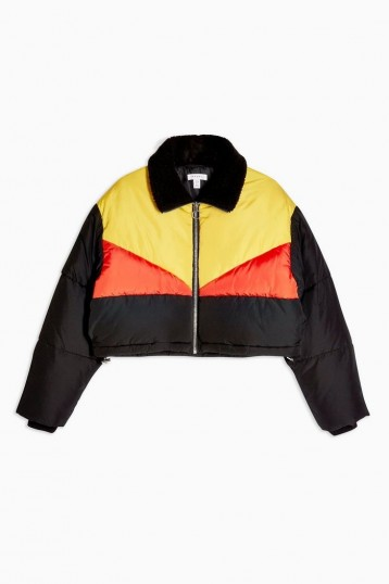 TOPSHOP Panel Cropped Puffer Jacket – crop hem jackets