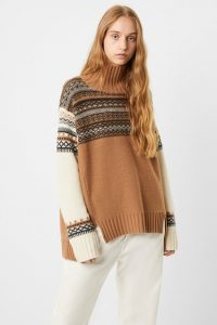 French Connection PATCHWORK FAIRISLE KNITS HIGH NECK JUMPER Casablanca Multi ~ stylish winter knits