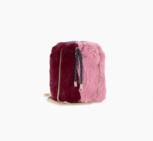 Pauls Boutique EBONY CROSS BODY BAG in GREY / PINK MULTI | fluffy faux fur crossbody