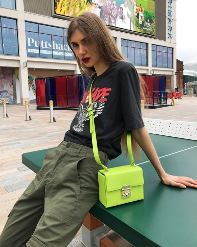 Pauls Boutique SADIE SMALL BOX BAG in LIME | bright green bags