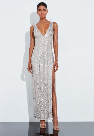 MISSGUIDED peace + love silver plunge embellished split maxi dress – glamorous thigh high slit dresses