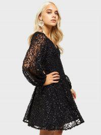 MISS SELFRIDGE Petite Black Sequin Skater Dress – sparkly fit and flare