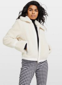 MISS SELFRIDGE PETITE Cream Teddy Bomber Coat – textured winter jacket