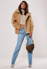 MISSGUIDED petite tan teddy ultimate aviator jacket