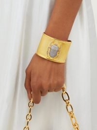 BEGUM KHAN Pharoah crystal-embellished scarab beetle gold-vermeil cuff