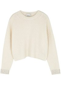 3.1 PHILLIP LIM Ivory crystal-embellished wool-blend jumper ~ casual luxe knitwear