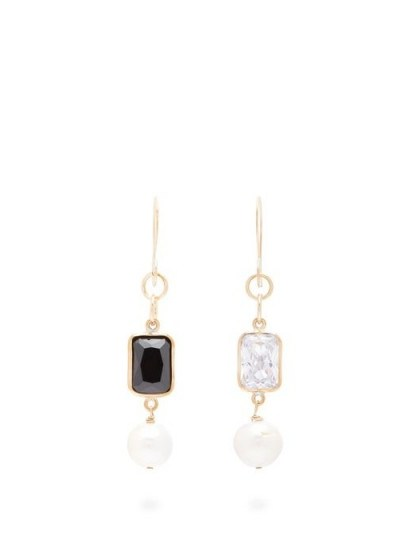 SONIA BOYAJIAN Piano mismatched zirconia & pearl drop earrings ~ white and black stone drops - flipped