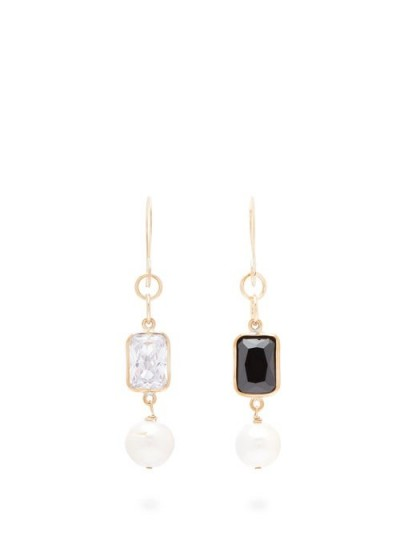 SONIA BOYAJIAN Piano mismatched zirconia & pearl drop earrings ~ white and black stone drops