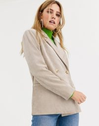 Pieces cord tailored blazer in sand – neutral corduroy jackets