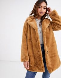 Pimkie faux fur longline coat in camel | fluffy light-brown coats