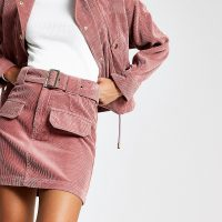 RIVER ISLAND Pink corduroy belted mini skirt – cord skirts