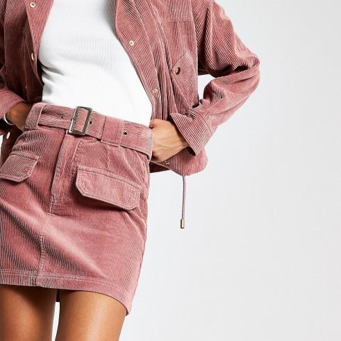 RIVER ISLAND Pink corduroy belted mini skirt – cord skirts